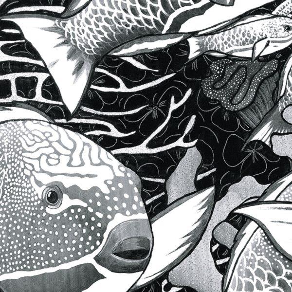 papier peint panoramique la danse noir et blanc tapissere sous marin poisson zoom2 maison fetiche