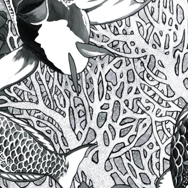 papier peint panoramique la danse noir et blanc tapissere sous marin poisson zoom3 maison fetiche