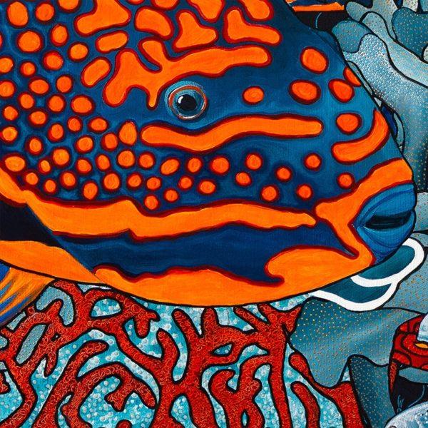 papier peint panoramique la danse orange bleu tapissere sous marin poisson zoom2 maison fetiche