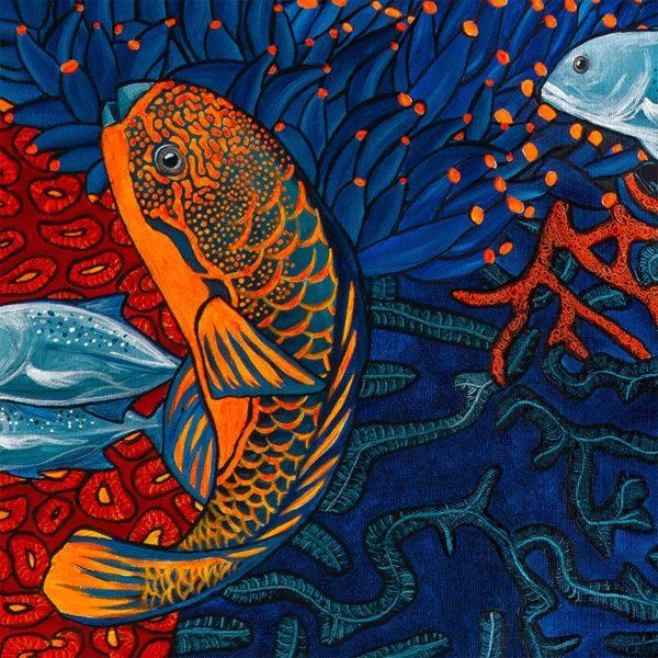 papier peint panoramique la danse orange bleu tapissere sous marin poisson zoom3 maison fetiche