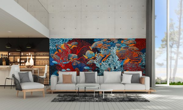papier peint panoramique la danse orange bleu tapisserie sous marin poisson ambiance1 maison fetiche