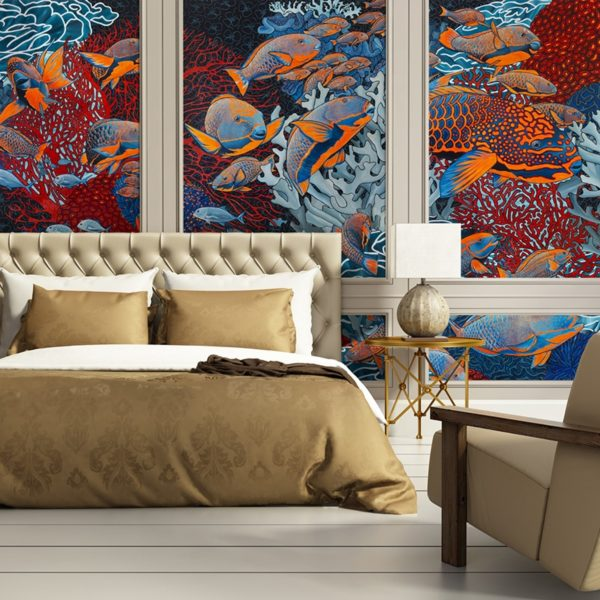 papier peint panoramique la danse orange bleu tapisserie sous marin poisson ambiance3 maison fetiche