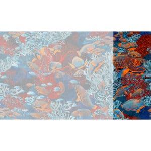 Raccord papier peint panoramique orange et bleu sous marin Lé N°1