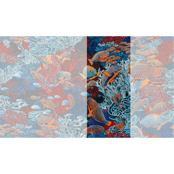 Raccord papier peint panoramique orange et bleu sous marin Lé N°2