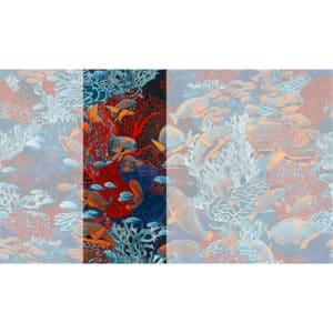 Raccord papier peint panoramique orange et bleu sous marin Lé N°3