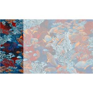 Raccord papier peint panoramique orange et bleu sous marin Lé N°4