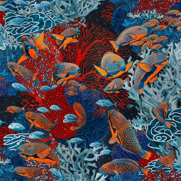 papier peint panoramique orange et bleu sous marin
