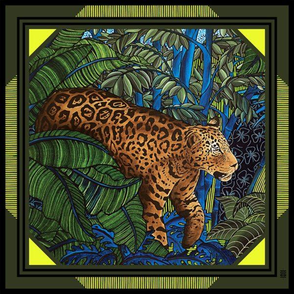 châle laine soie 120 x 120 Maison Fétiche Fauve jungle