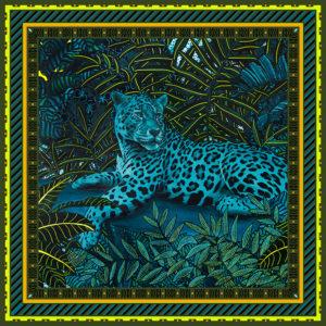 Châle laine soie 120 x 120 cm Mon élégante de chez Maison Fétiche jaguar jungle