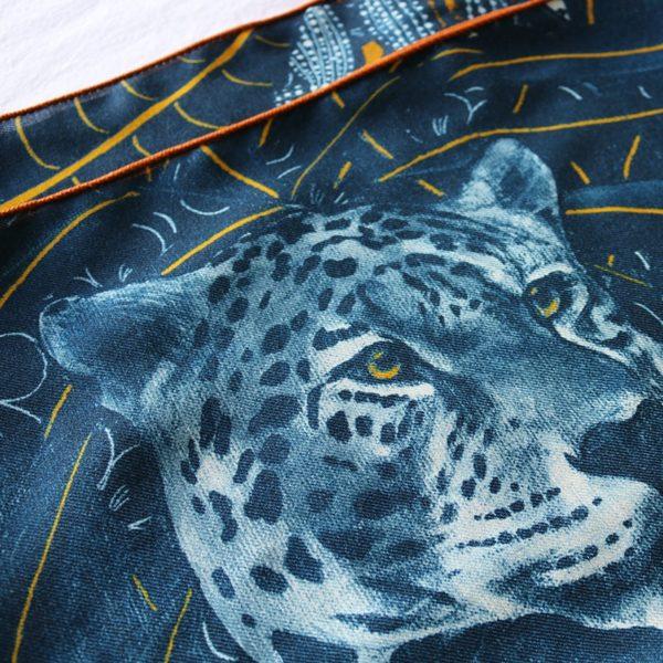 étole chèche laine soie Maison Fétiche ocre jaune jaguar 70 x 185
