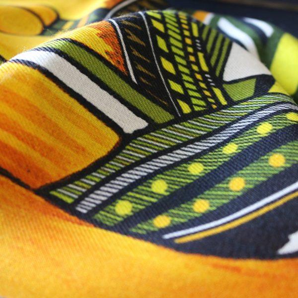 étole chèche laine soie finition frangée roulottée Maison Fétiche inuit esquimau ocre jaune kaki 70 x 185
