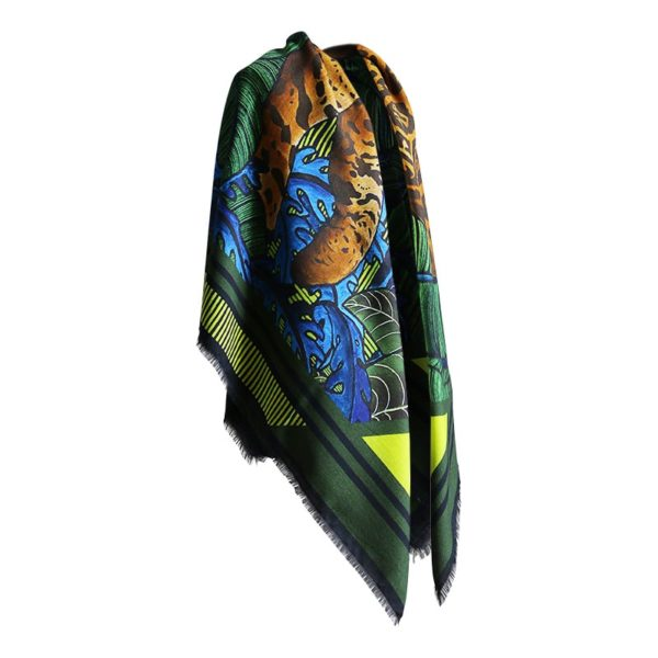 foulard carré laine soie finition frangé Maison Fétiche Fauve foret vierge tropicale vert jaguar panthère léopard Amazonie Afrique ethnique vert bleu marron beige jaune noir 120 x 120