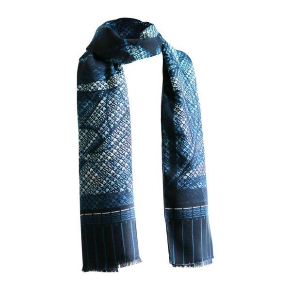 chèche laine soie finition frangée roulottée Maison Fétiche tigre bleu homme 70 x 185