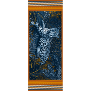 étole laine soie 185 x 70 cm Mon élégante Orange de chez Maison Fétiche jaguar panthère jungle bleue