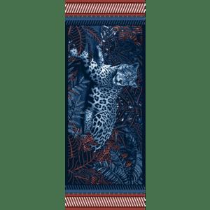 étole laine soie 185 x 70 cm Mon élégante Rouge de chez Maison Fétiche jaguar panthère jungle bleue