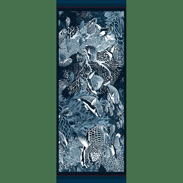 Chèche laine soie 185 x 70 cm La danse Blue de chez Maison Fétiche corail poissons perroquets fond sous marin