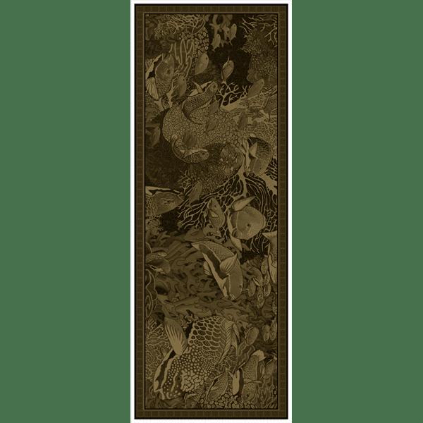 Chèche laine soie 185 x 70 cm La danse Kaki de chez Maison Fétiche corail poissons perroquets fond sous marin