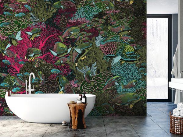 papier peint panoramique la danse allure tapisserie sous marin poisson ambiance3 maison fetiche