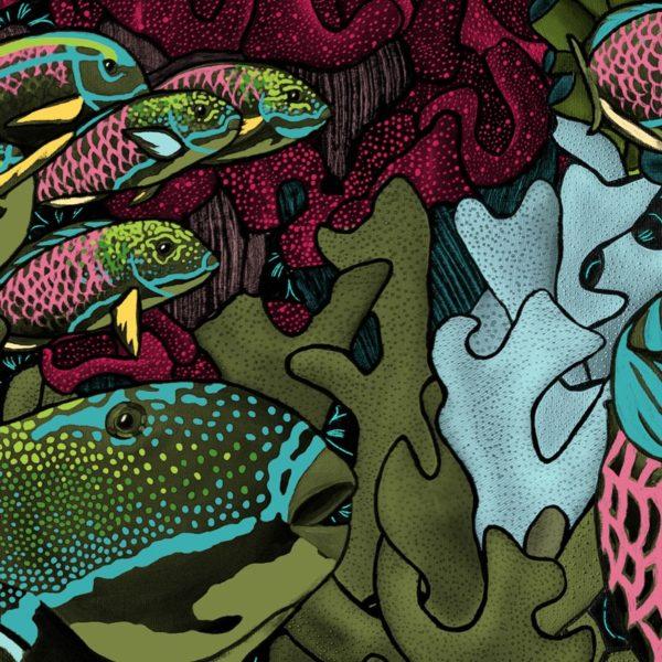papier peint panoramique la danse allure tapisserie sous marin poisson detail1 maison fetiche