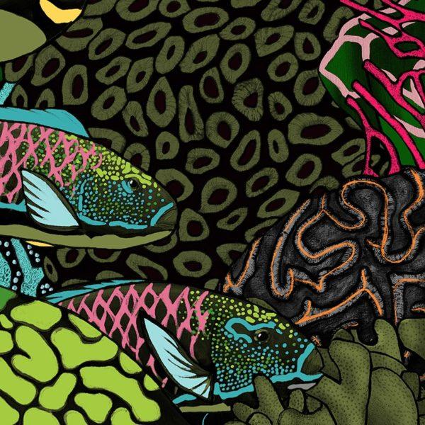 papier peint panoramique la danse allure tapisserie sous marin poisson detail3 maison fetiche