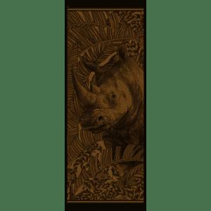 Chèche laine soie 185 x 70 cm rhinocéros l'élégant de chez Maison Fétiche