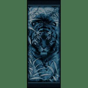 Étole laine soie 185 x 70 cm Legend tigre blue de chez Maison Fétiche